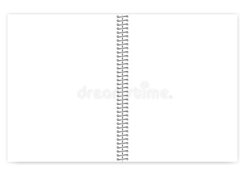 Open empty blank wire bound metal spiral notebook, vector mock up. Open empty blank wire bound notebook with metal spiral, realistic vector mock up. Loose leaf stock illustration