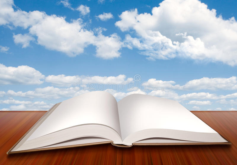 Open empty book with blank pages and blue sky stock illustration