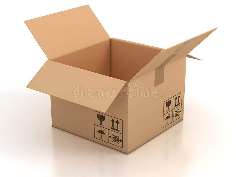 Open empty cardboard box stock illustration