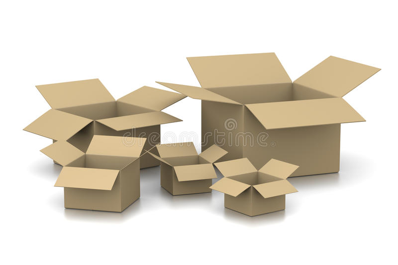 Open Empty Cardboard Boxes stock illustration
