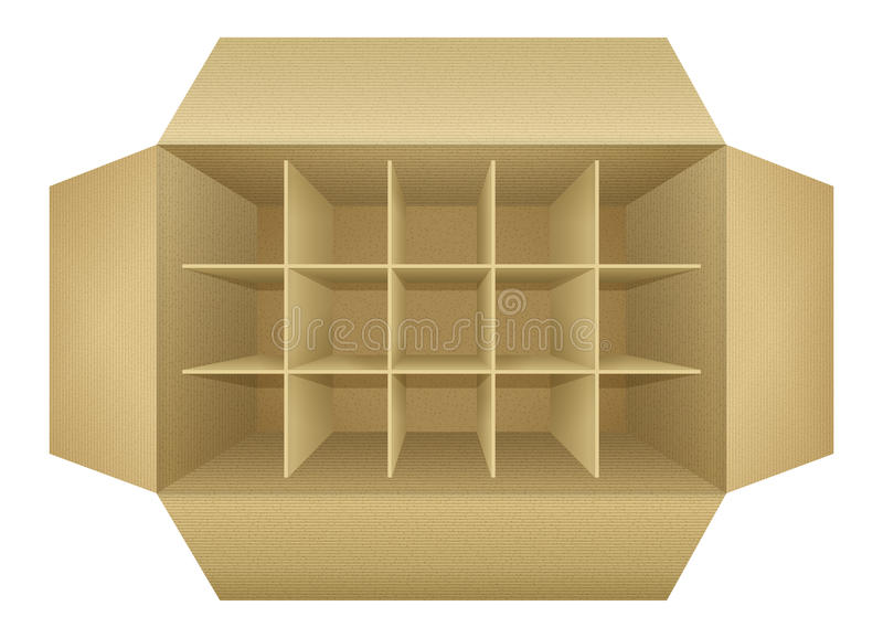 Open empty corrugated cardboard packaging box. With subtle textures, dividers, flaps, shadows, isolated on white background. Detailed realistic vector royalty free illustration