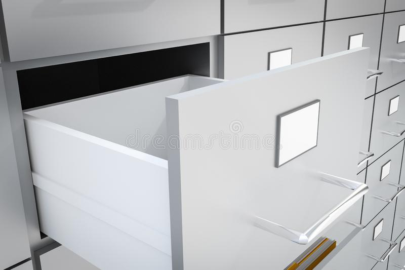 Open empty drawer of cabinet - administration concept. Open empty drawer of cabinet - business and administration concept. 3D rendered illustration royalty free illustration