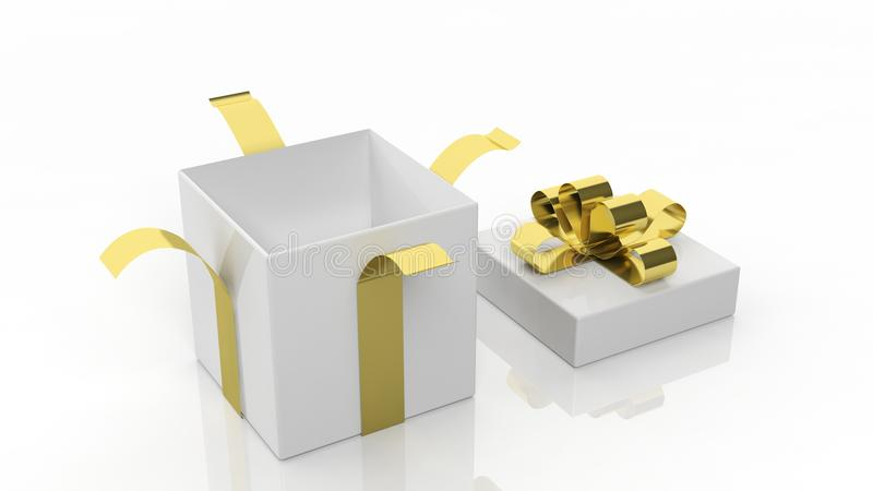 Open empty gift box with golden ribbon royalty free illustration