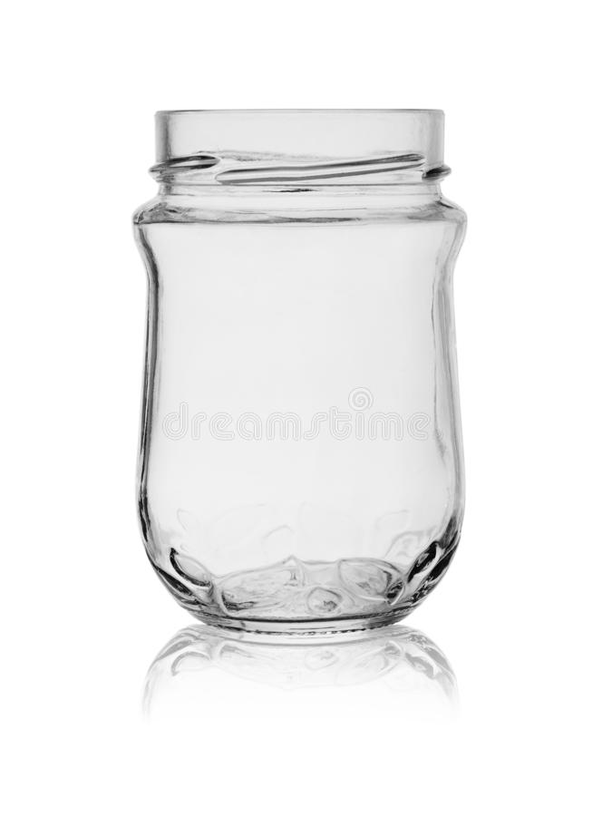 Open empty glass jar isolated on white background with reflection stock photos
