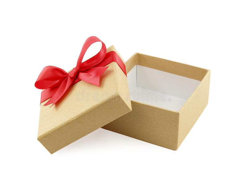 close up open and empty golden gift box with red ribbon bow isolated on white background royalty free stock photography
