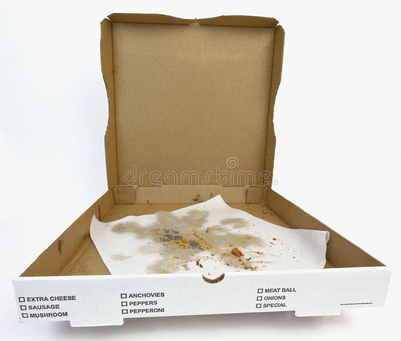Open Empty Pizza Box with Greasy Wax Paper. Empty open pizza box with greasy wax paper and crumbs royalty free stock photos