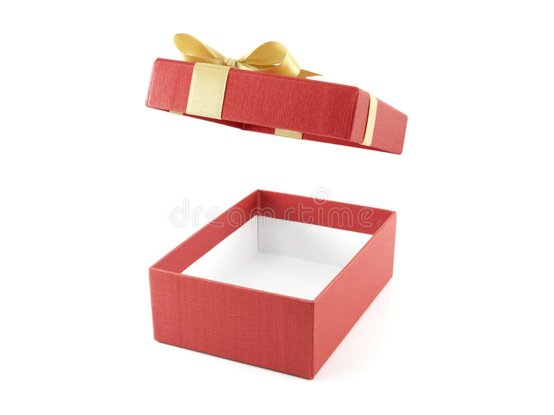 Open and empty red gift box with golden ribbon bow royalty free stock images