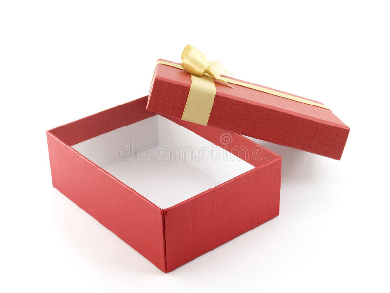 close up single open and empty red gift box with golden ribbon bow on white background royalty free stock photos