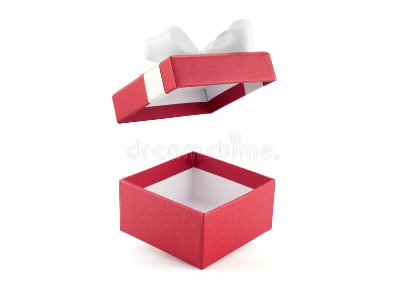 Open and empty single red gift box decorate white ribbon bow isolated on white background. Close up open and empty single red gift box decorate white ribbon bow royalty free stock photo