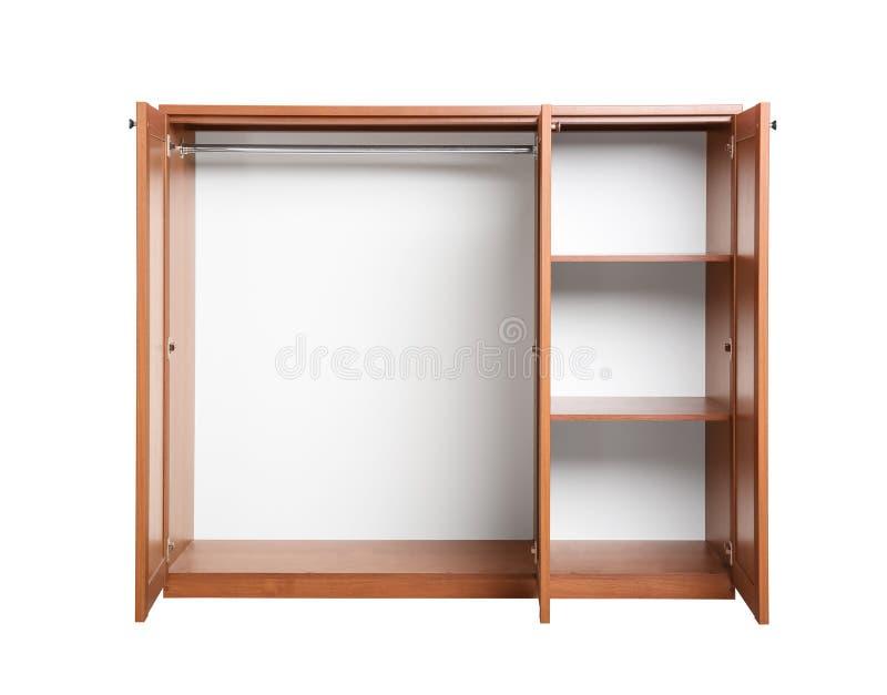 Open empty wooden wardrobe closet stock image