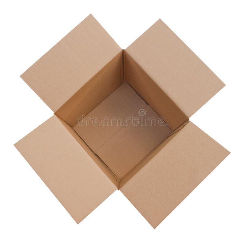 Open en de geïsoleerdeh doos van het karton royalty-vrije stock foto's