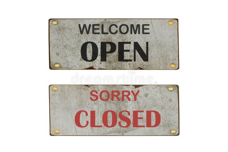Open en gesloten deurteken Druk met kleurensymbool voor opslag, winkel, koffie, hotel, bureau vector illustratie