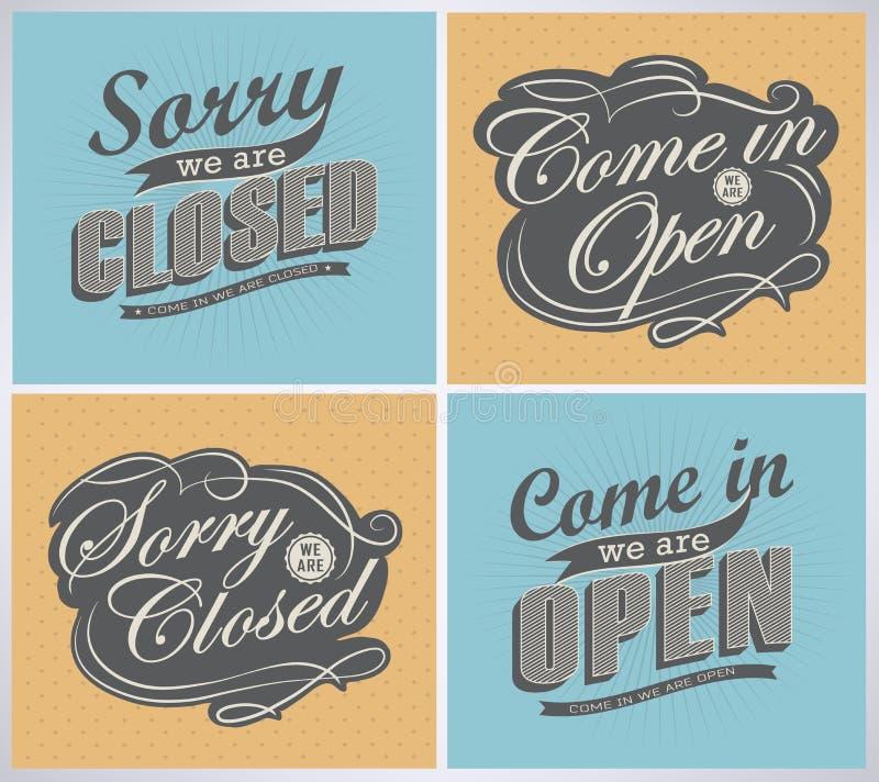 Open en Gesloten Uitstekende retro tekens stock illustratie