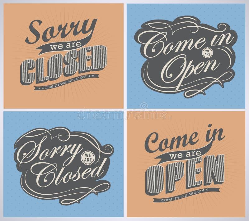 Open en Gesloten Uitstekende retro tekens vector illustratie