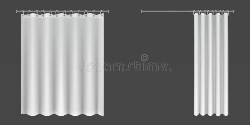 Open en gesloten witte douchegordijnen vector illustratie
