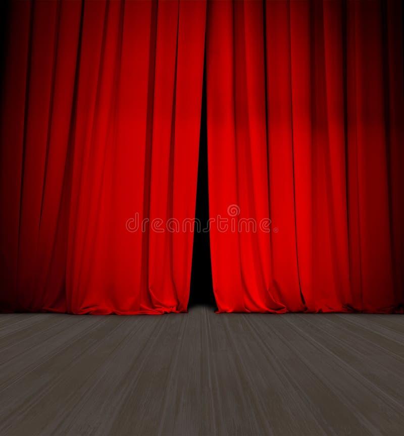 Open en houten stadium of de scène van het theater het rode gordijn lichtjes royalty-vrije illustratie