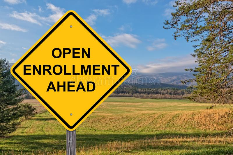 Open Enrollment Ahead Warning Sign stock images