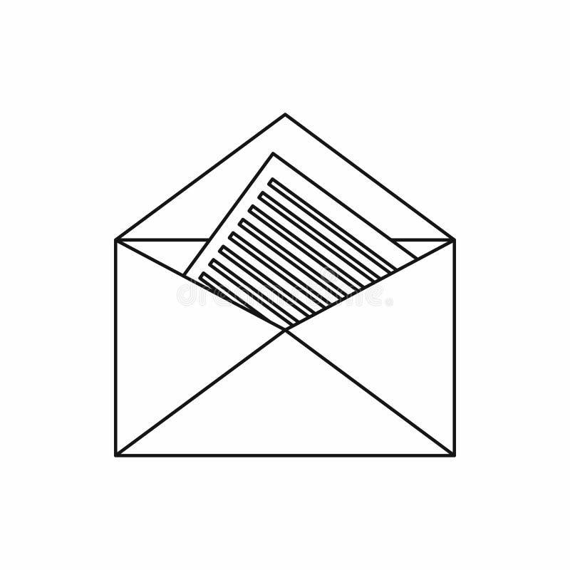 Open envelop met blad van document pictogram stock illustratie