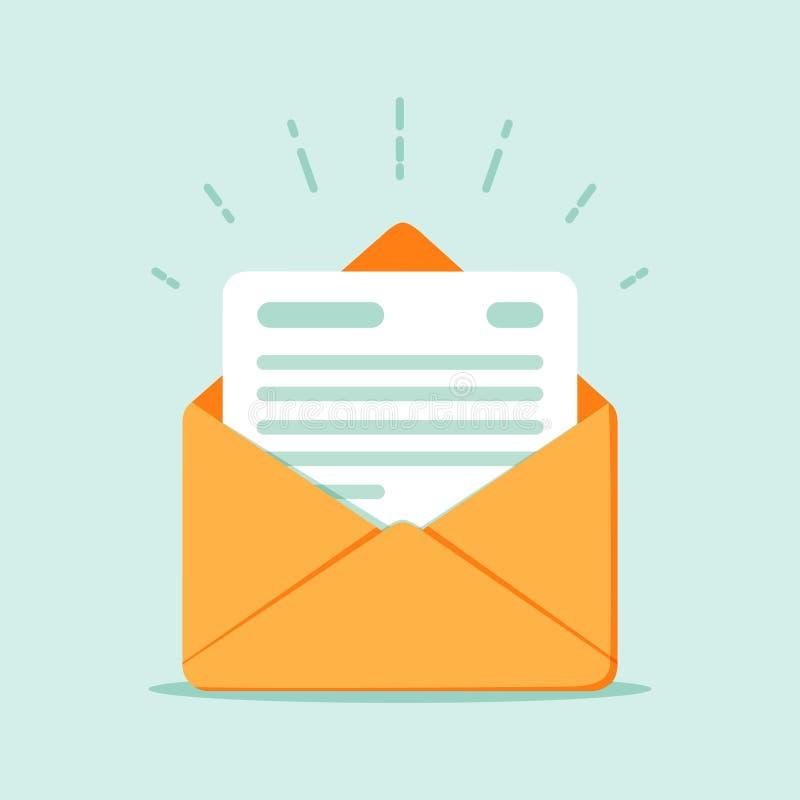 Open envelop met een document Nieuwe brief Het verzenden van correspondentie royalty-vrije illustratie