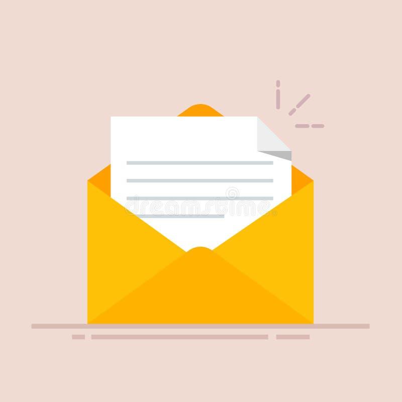 Open envelop met een document Nieuwe brief Het verzenden van correspondentie Vlakke die illustratie op kleurenachtergrond wordt g vector illustratie