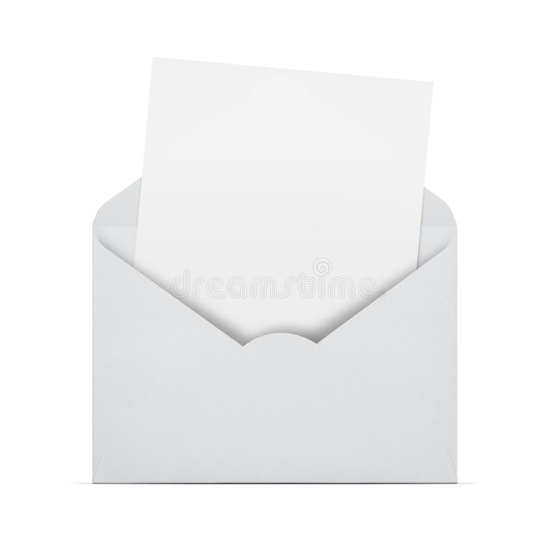 Blank letter in an envelope. Open envelope with blank letter coming out isolated on white background with copy space stock photo
