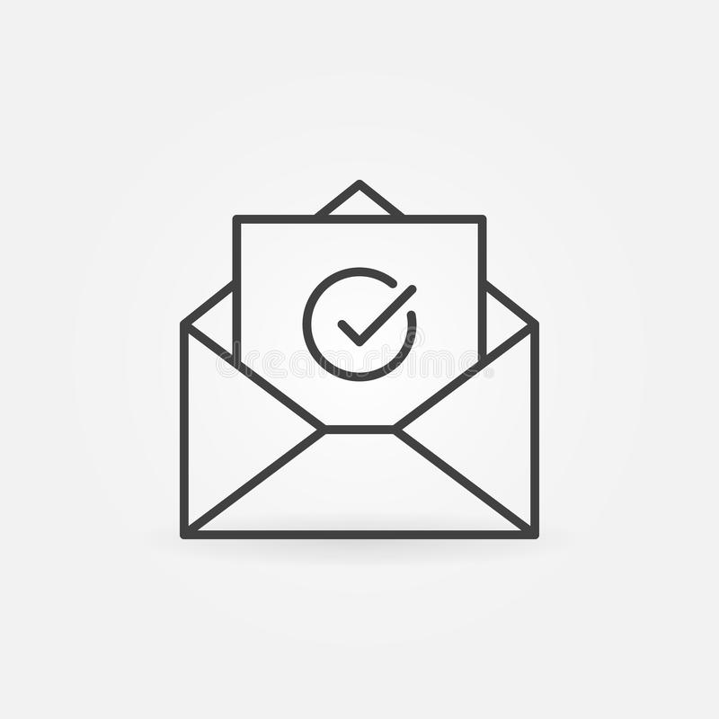 Open Envelope With Checkmark Outline Vector Icon Stock ...