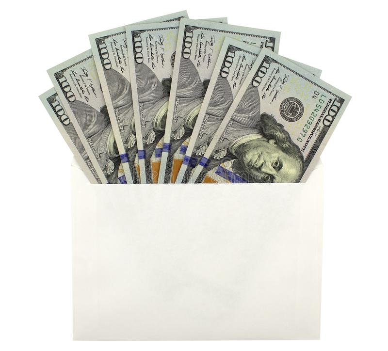 Open an envelope with dollar banknotes stock photography