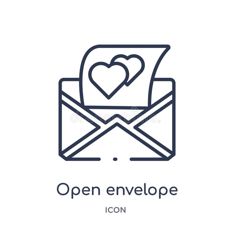 open envelope with heart letter icon from party outline collection. Thin line open envelope with heart letter icon isolated on stock illustration