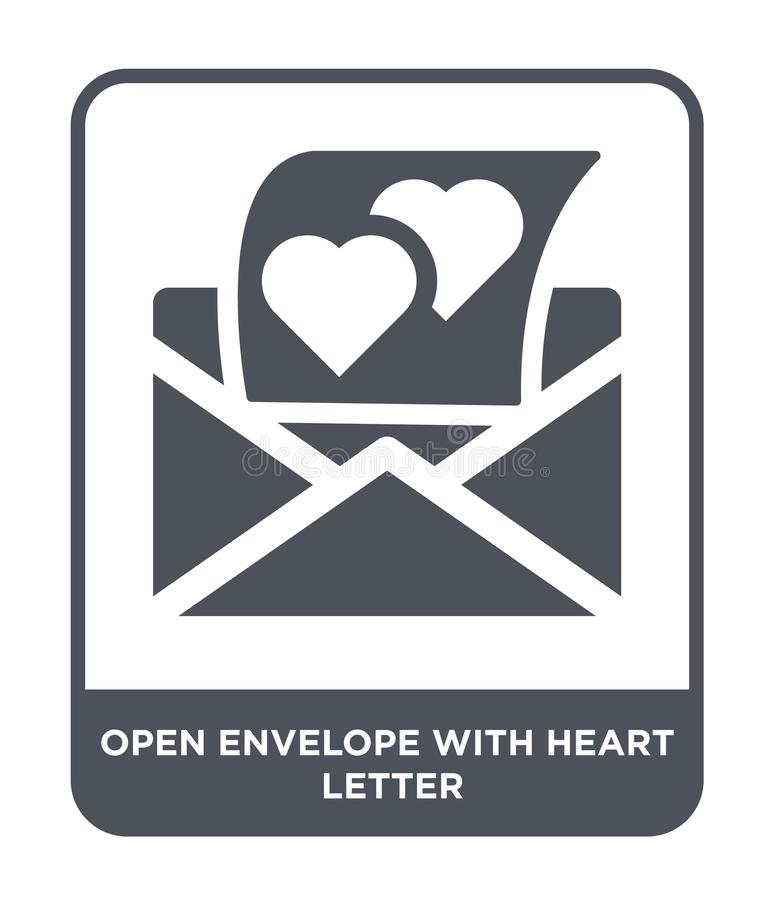 open envelope with heart letter icon in trendy design style. open envelope with heart letter icon isolated on white background. royalty free illustration