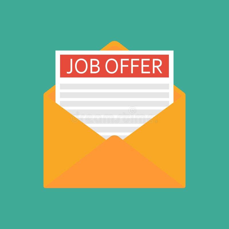 Open Envelope With Job Offer Message. Flat Design Vector Illustration Stock  Illustration - Illustration of internet, communication: 140972187