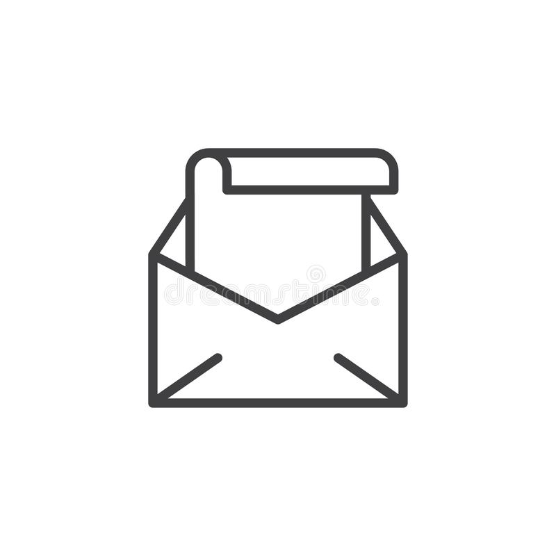 Open Envelope With Letter Line Icon Stock Vector ...