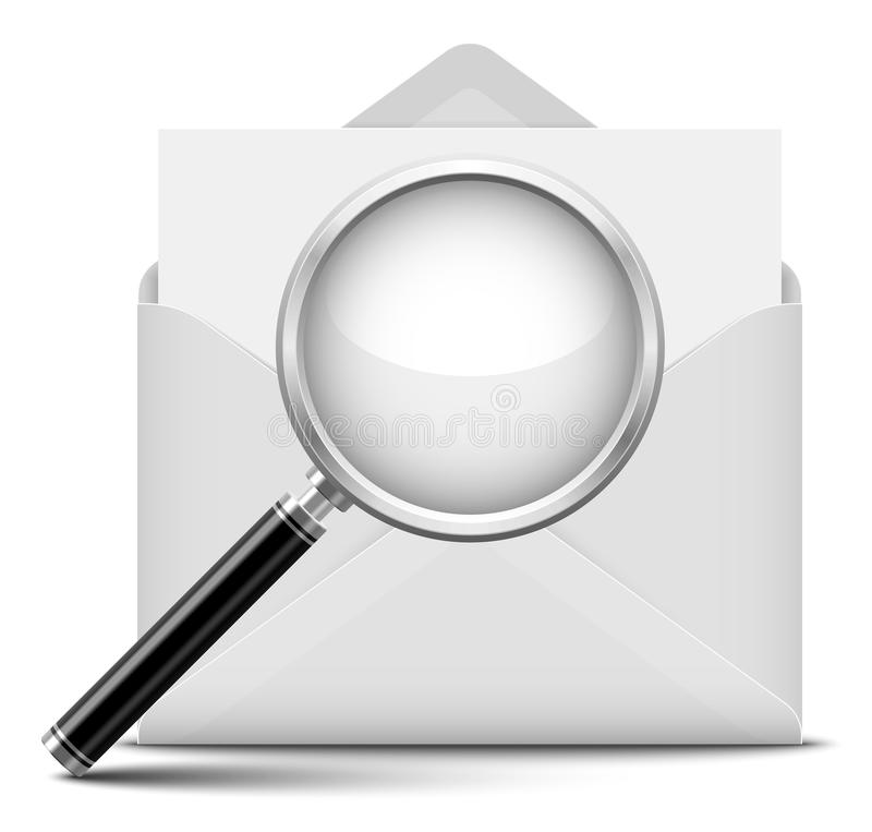 Open envelope and magnifying glass stock illustration