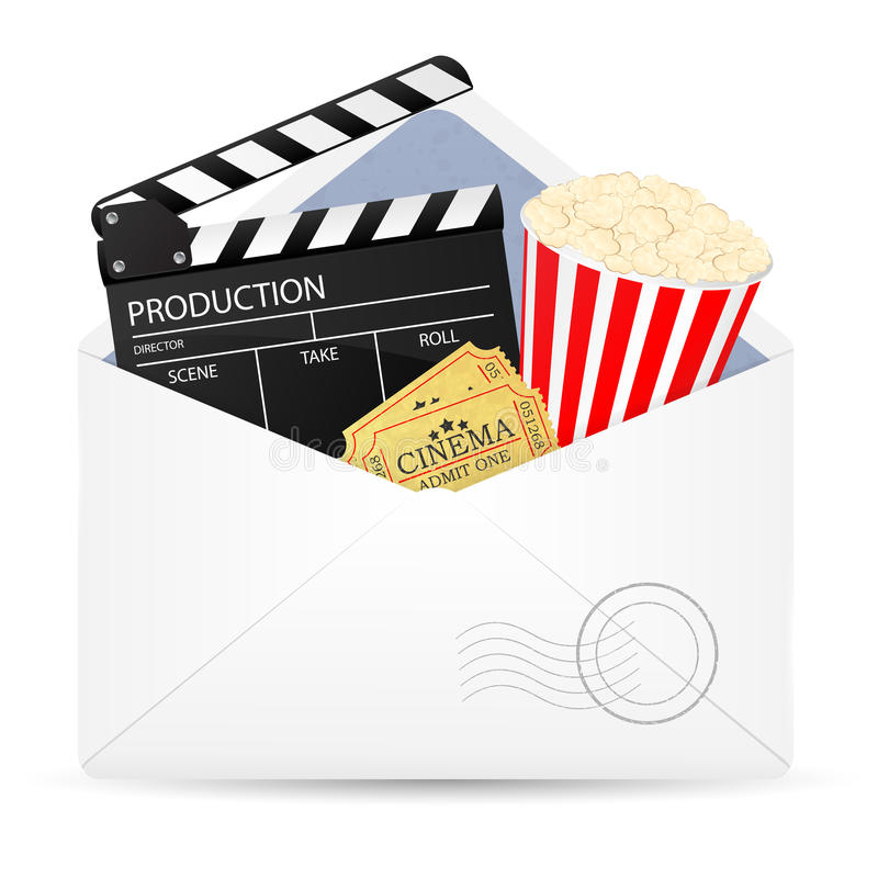Open envelope with movie clapper board. stock illustration