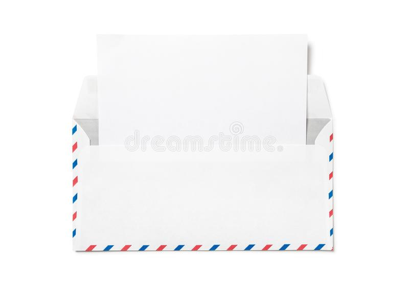 Open envelope with a sheet of white paper. royalty free stock photo