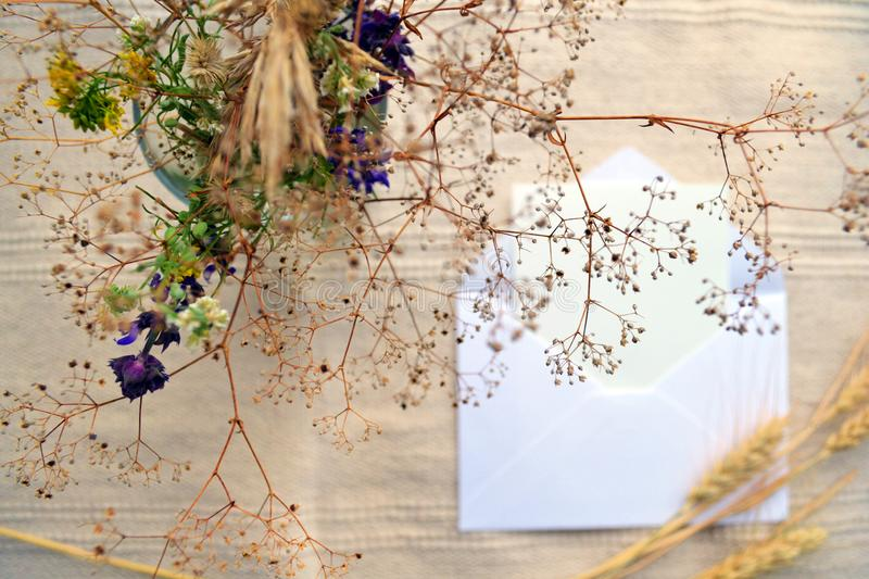 Open envelope, white card, dried field flowers and herbs bouquet and ears royalty free stock photos