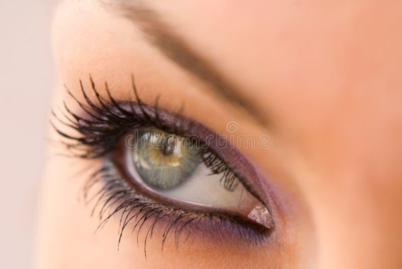 Open eye. Beautiful woman`s open green eye