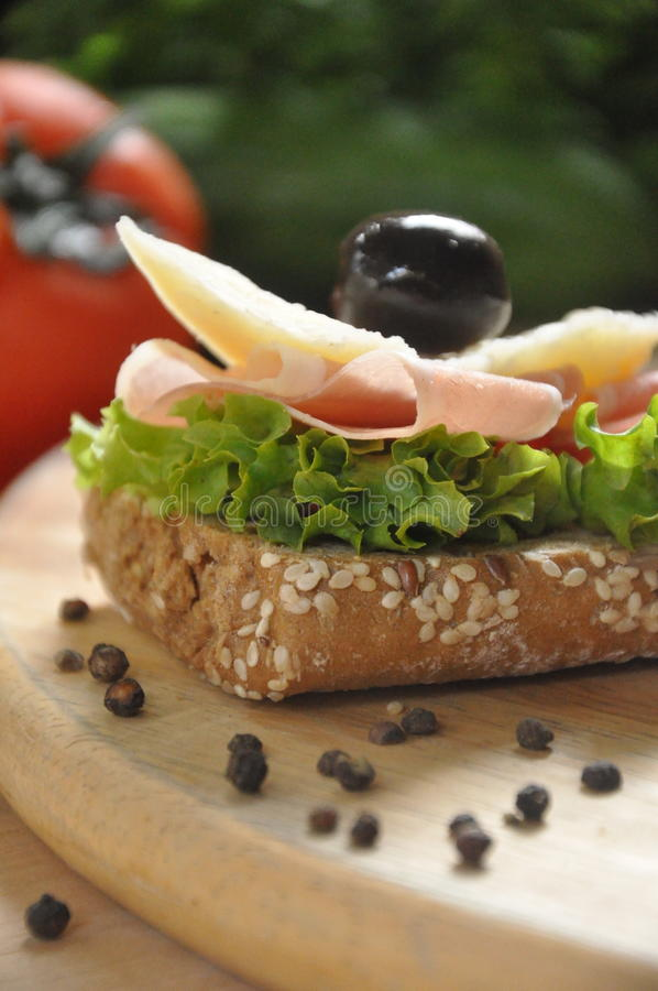 Open face sandwich stock photography