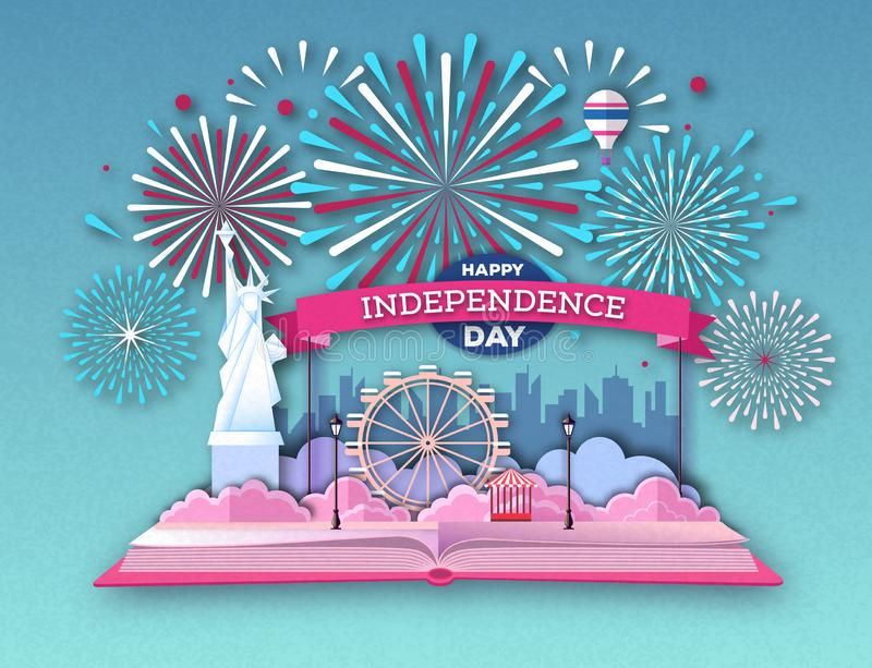 Open fairy tale book with city landscape and holiday firework. Inependence day.Cut out paper art style design. Open fairy tale book with city landscape and stock illustration
