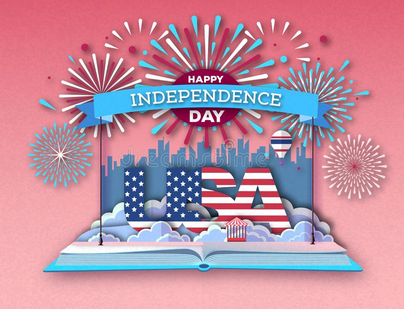 Open fairy tale book with city landscape and holiday firework. Inependence day.Cut out paper art style design. Open fairy tale book with city landscape and royalty free illustration