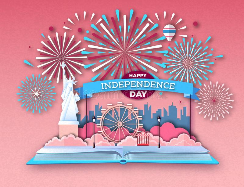 Open fairy tale book with city landscape and holiday firework. Inependence day.Cut out paper art style design. Open fairy tale book with city landscape and vector illustration