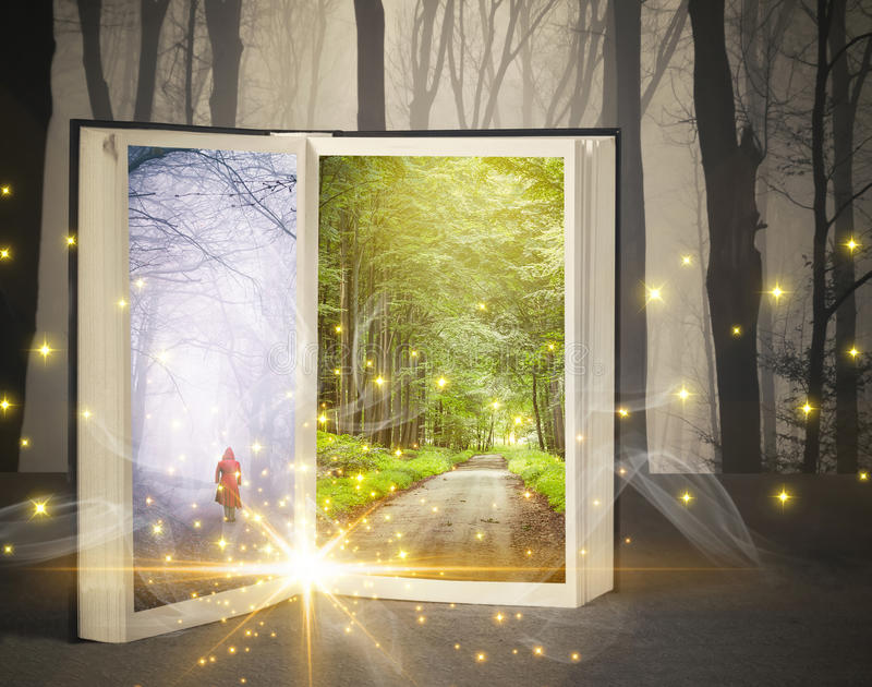 Open fairytale book royalty free stock photography