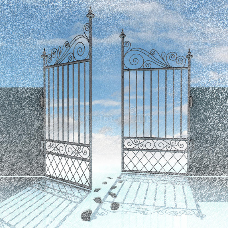 Open fence with footprints in snow winter royalty free illustration
