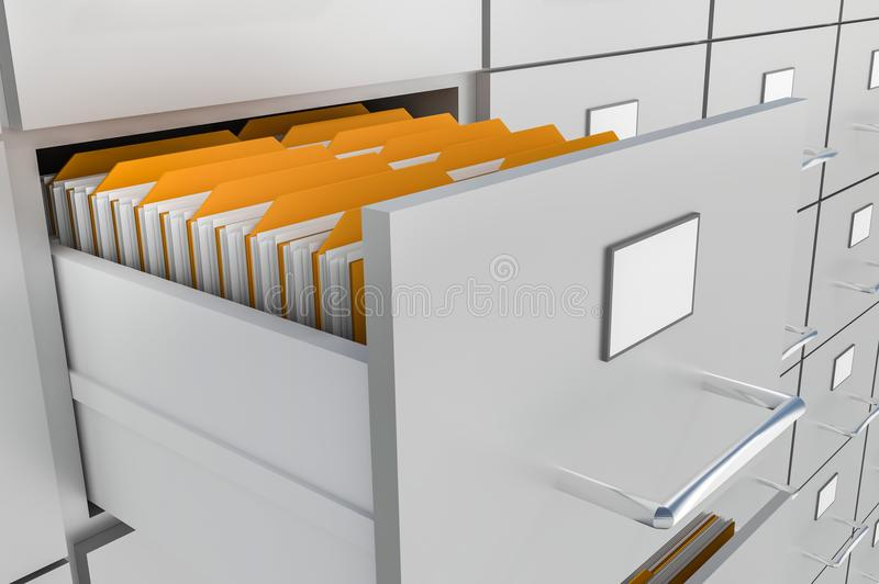 Open filing cabinet drawer with documents inside. Data collection concept. 3D rendered illustration stock illustration