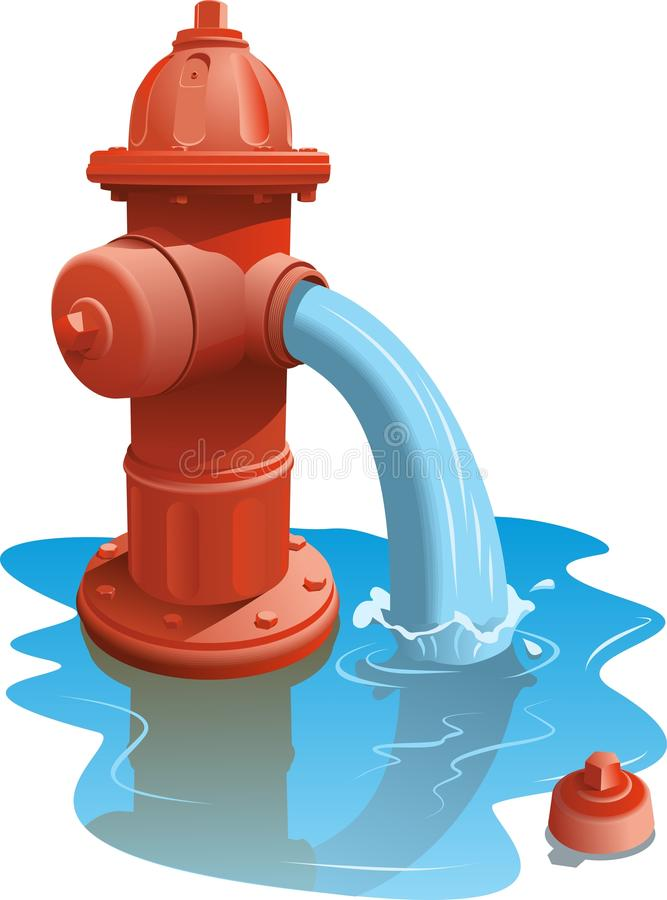 Open Fire Hydrant. Letting the water flow out vector illustration