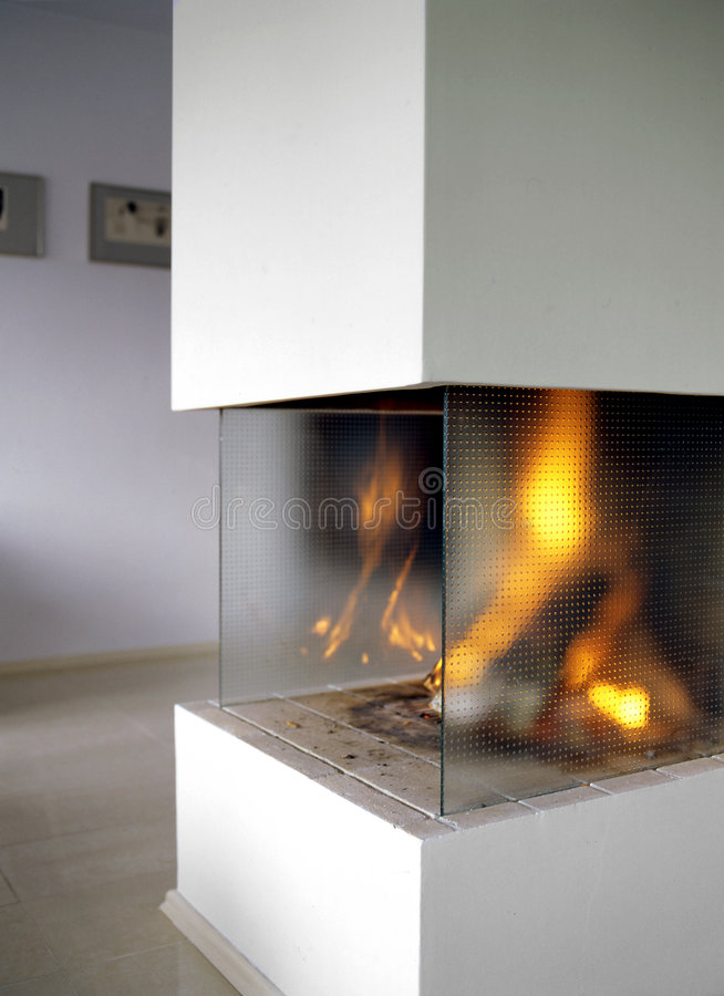 Open fire place stock photography