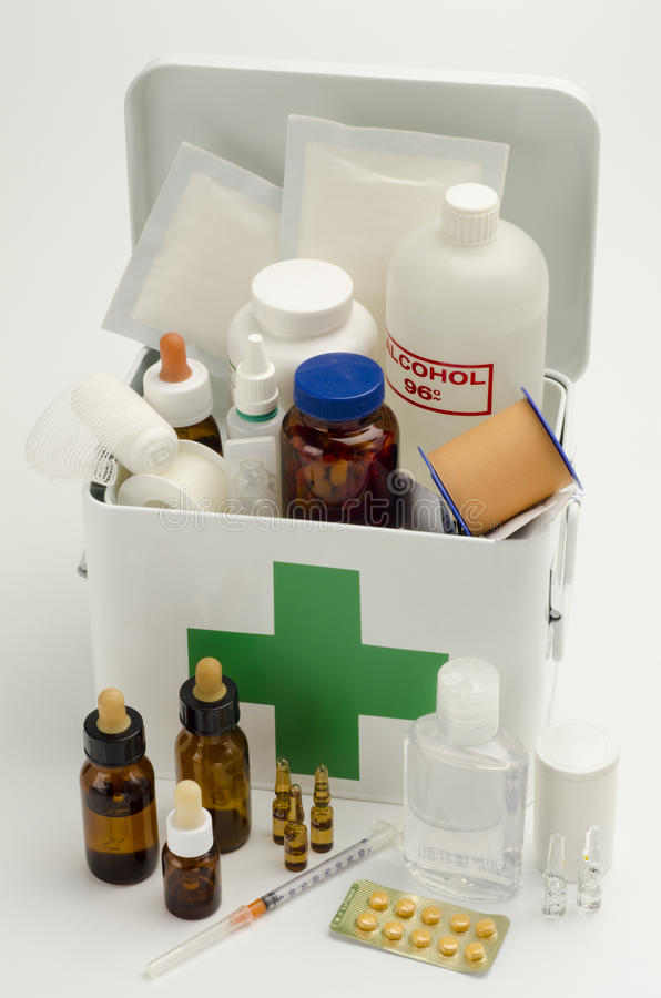 Open first aid kit royalty free stock photography