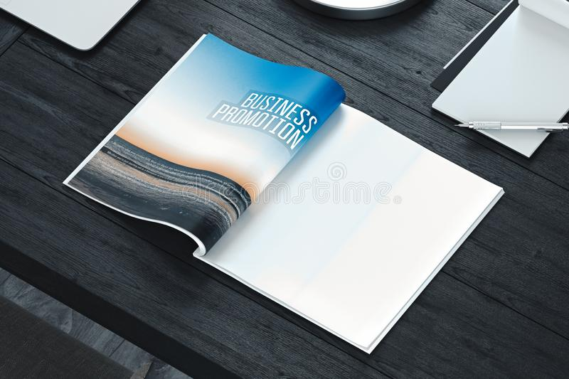 Open magazine with blank pages on gray table. Empty space. 3d rendering. stock images