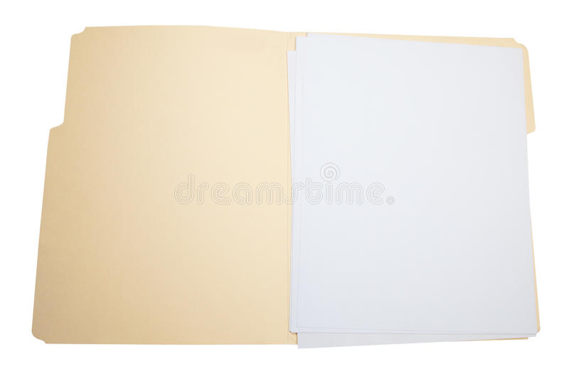 Open folder. A brown folder open with blank pages isolated in white background stock photo