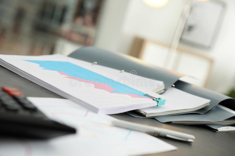 Open folders with documents. On office table royalty free stock photo