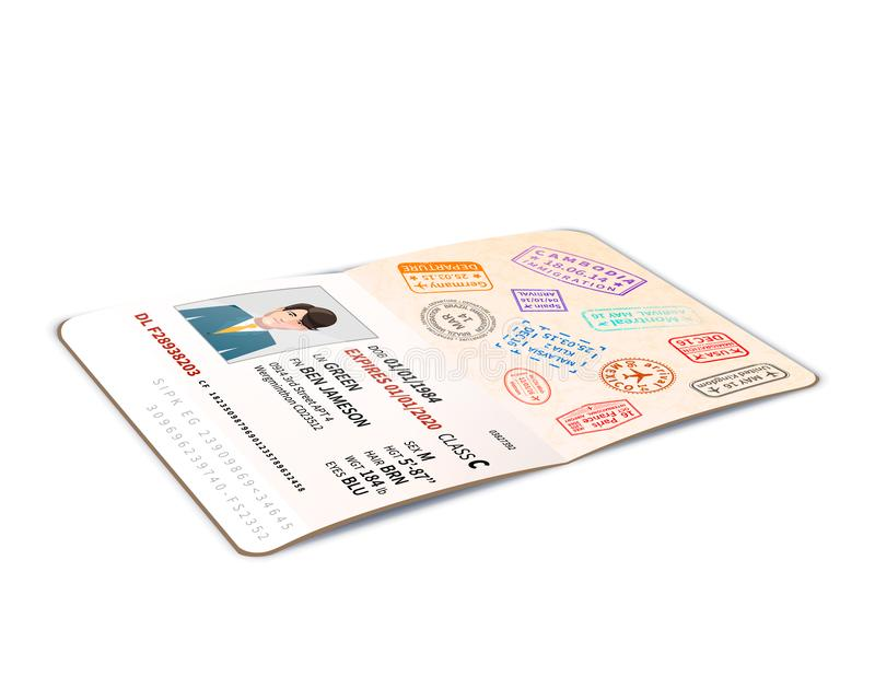Open foreign passport full of immigration stamps, travel document with man photo in perspective on white royalty free illustration